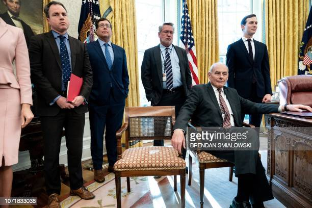 White House communications director Bill Shine White House Chief of Staff John Kelly and Senior Advisor Jared Kushner wait a meeting between US...