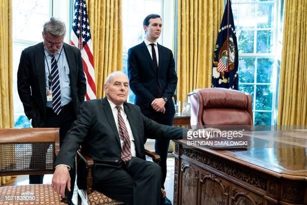 White House communications director Bill Shine White House Chief of Staff John Kelly and Senior Advisor Jared Kushner wait a meeting between US...