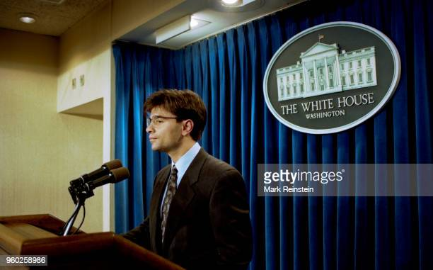 White House Communications Director George Stephanopoulos speaks from the lectern in the press briefing room Washington DC January 21 1993 This was...