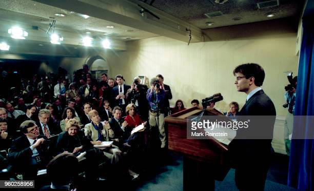 White House Communications Director George Stephanopoulos takes reporter's questions in the press briefing room Washington DC January 21 1993 This...