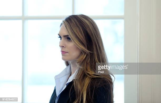 White House communications director Hope Hicks looks on during a meeting between President Trump and Don Bouvet who has been battling cancer in the...