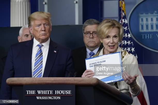 White House coronavirus response coordinator Deborah Birx holds up a CDC advisory as US President Donald Trump and Attorney General listen at the...