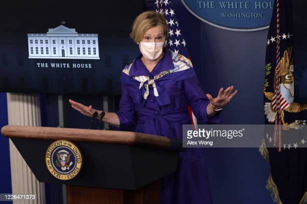White House coronavirus response coordinator Deborah Birx speaks during a news briefing at the James Brady Press Briefing Room of the White House on...