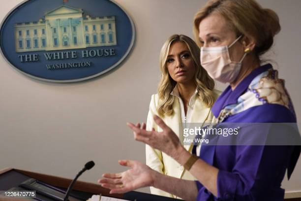 White House coronavirus response coordinator Deborah Birx speaks as White House Press Secretary Kayleigh McEnany looks on during a news briefing at...