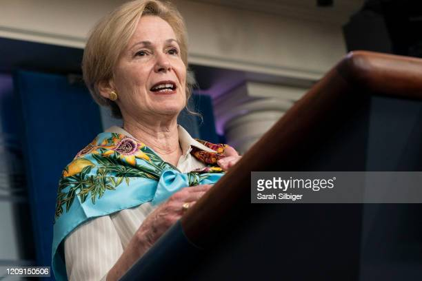 White House coronavirus response coordinator Deborah Birx speaks at a press briefing with members of the White House Coronavirus Task Force on April...