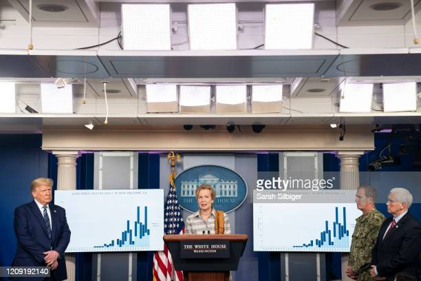 White House coronavirus response coordinator Deborah Birx speaks at a press briefing with members of the White House Coronavirus Task Force and U.S....