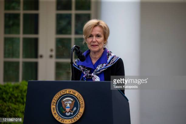 White House coronavirus response coordinator Deborah Birx speaks in the Rose Garden for the daily coronavirus briefing at the White House on March 29...