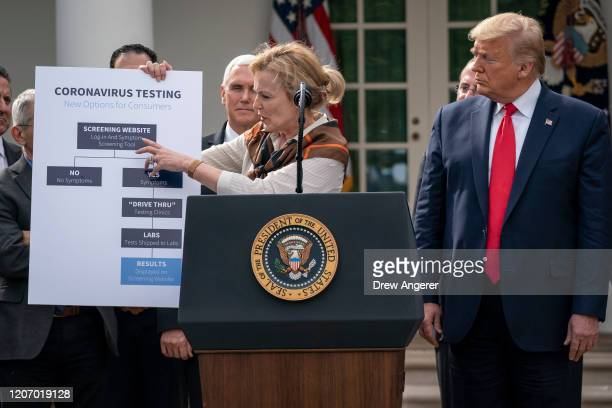 White House Coronavirus Response Coordinator Dr Deborah Birx holds up a chart about coronavirus testing options as US President Donald Trump holds a...