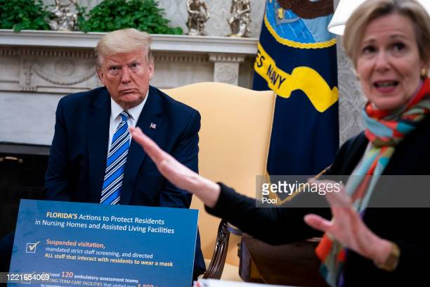 White House Coronavirus Task Force Coordinator Deborah Birx answers a question while meeting with Florida Gov Ron DeSantis and US President Donald...