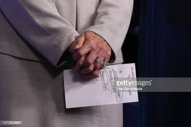 White House Coronavirus Task Force Coordinator Deborah Birx holds notes before speaking in the Brady Press Briefing Room at the White House March 19...