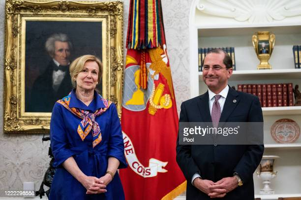 White House coronavirus task force coordinator Dr. Deborah Birx and Health and Human Services Secretary Alex Azar attend an announcement that the...