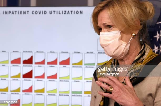White House coronavirus task force coordinator Dr. Deborah Birx speaks during a White House Coronavirus Task Force press briefing in the James Brady...