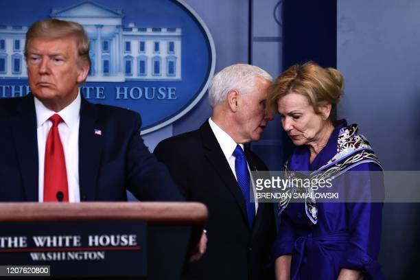 White House Coronavirus Task Force Coordinator Dr Deborah Birx listens to US Vice President Mike Pence during the daily briefing on the novel...