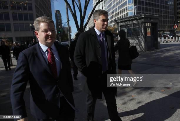 White House correspondent Jim Acosta and CNN Washington bureau chief Sam Feist walk along Pennsylvania Avenue to the White House gate as Acosta...