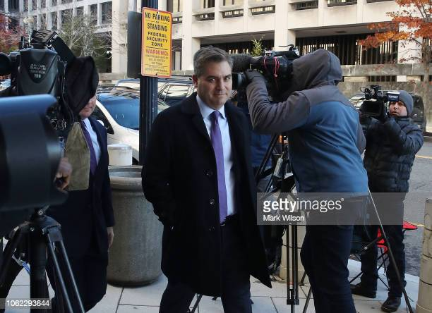 White House correspondent Jim Acosta arrives for a hearing at the US District Court on November 16 2018 in Washington DC CNN has filed a lawsuit...