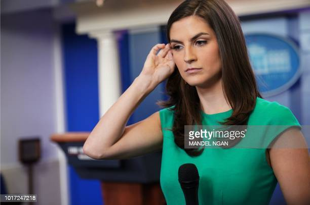 CNN White House correspondent Kaitlan Collins is seen in the Brady Briefing Room of the White House before the start of the daily briefing on August...