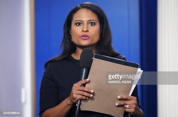 NBC White House correspondent Kristen Welker is seen before a briefing by White House Press Secretary Sarah Sanders in the Brady Briefing Room of the...