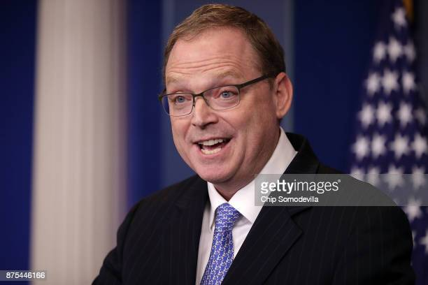 White House Council of Economic Advisers Chairman Kevin Hassett answers reporters' questions during a news conference in the Brady Press Briefing...