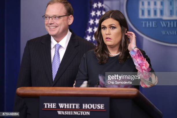White House Council of Economic Advisers Chairman Kevin Hassett and Press Secretary Sarah Huckabee Sanders conduct a news conference in the Brady...
