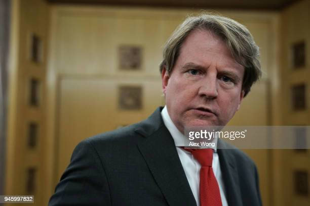 S White House Counsel Don McGahn after the investiture ceremony for US District Judge Trevor N McFadden April 13 2018 at the US District Court in...