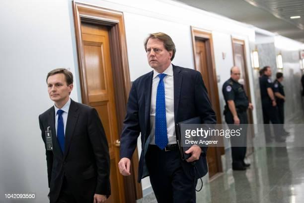 White House Counsel Don McGahn arrives at the Senate Judiciary Committee before Judge Brett Kavanaugh's testimony in the Dirksen Senate Office...