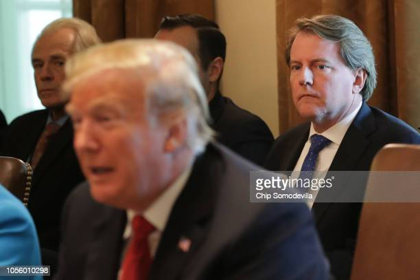 White House Counsel Don McGahn attends a cabinet meeting with US President Donald Trump in the Cabinet Room at the White House October 17 2018 in...