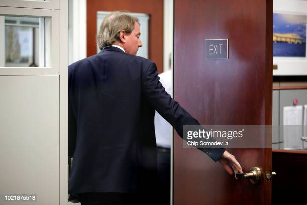 White House Counsel Don McGahn heads into a meeting with Supreme Court nominee Judge Brett Kavanaugh and Sen Sheldon Whitehouse in the Hart Senate...