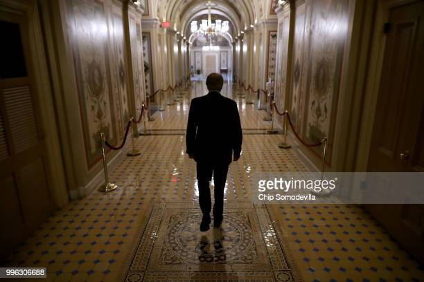 White House Counsel Don McGahn heads to a meeting between Senate Majority Whip John Cornyn and Judge Brett Kavanaugh at the US Capitol July 11 2018...