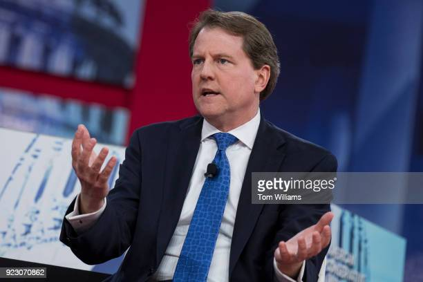 White House counsel Don McGahn is interviewed during the Conservative Political Action Conference at the Gaylord National Resort in Oxon Hill Md on...