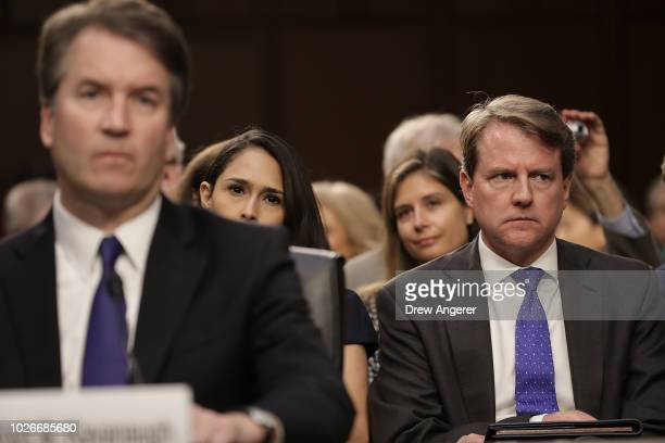 White House Counsel Don McGahn listens as Supreme Court nominee Judge Brett Kavanaugh appears before the Senate Judiciary Committee during his...