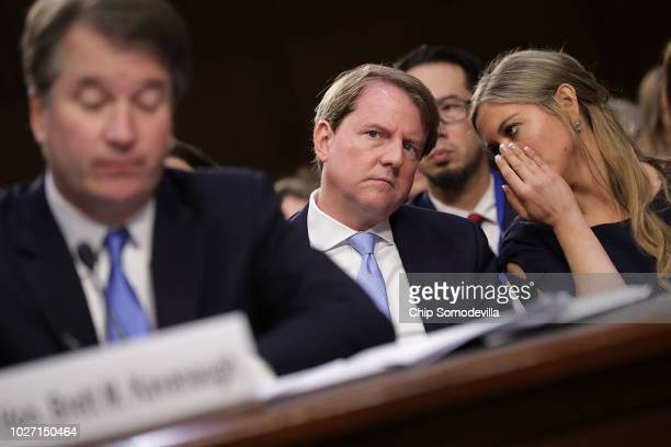 White House Counsel Don McGahn listens as Supreme Court nominee Judge Brett Kavanaugh testifies before the Senate Judiciary Committee on the second...