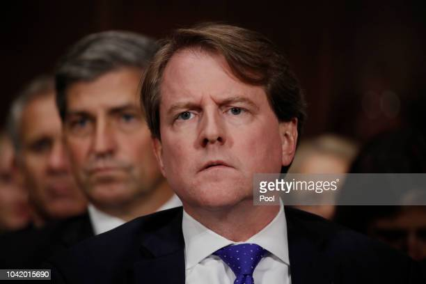 White House counsel Don Mcgahn listens to Judge Brett Kavanaugh testify before the Senate Judiciary Committee during his Supreme Court confirmation...