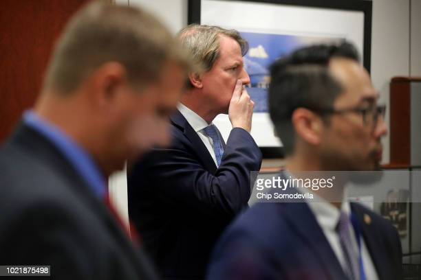 White House Counsel Don McGahn prepares to join Supreme Court nominee Judge Brett Kavanaugh for a meeting with Sen Sheldon Whitehouse in the Hart...
