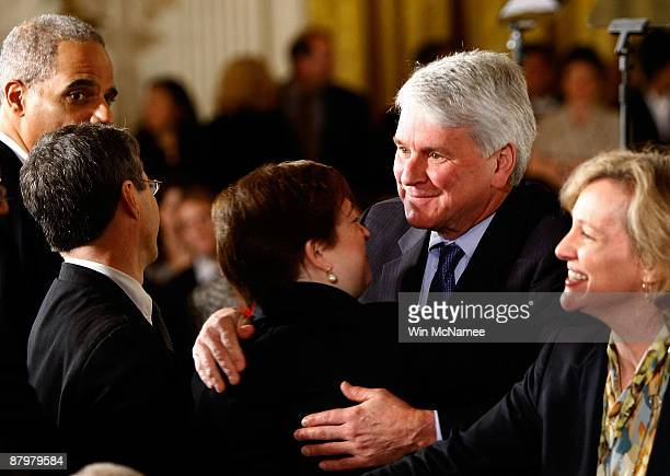 White House Counsel Greg Craig hugs US Solicitor General Elena Kagan before US President Barack Obama announced United States Court of Appeals for...