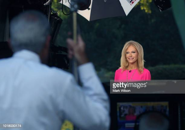 White House Counsel Kellyanne Conway appears on a morning television show from the North Lawn of the White House on August 17 2018 in Washington DC...