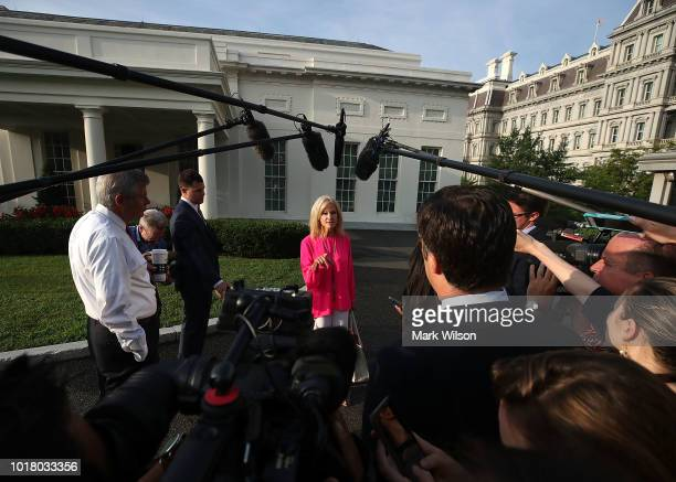 White House Counsel Kellyanne Conway speaks to the media in front of the West Wing of the White House on August 17 2018 in Washington DC According to...