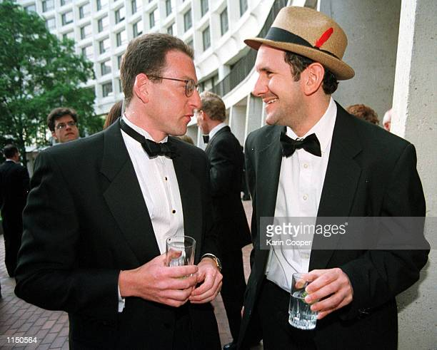 White House counsel Lanny Breuer and Internet gossip Matt Drudge talk at the Vanity Fair reception before the White House Correspondents Dinner at...