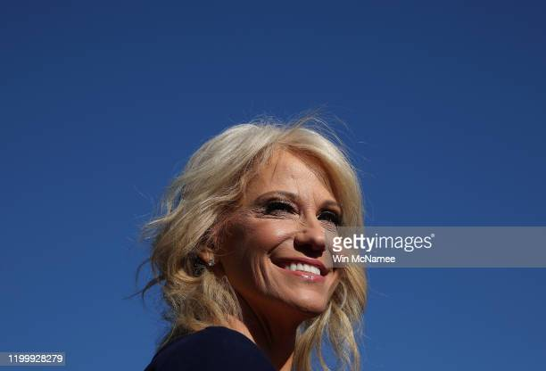 White House counselor Kellyanne Conway answers questions from reporters outside the White House on January 16, 2020 in Washington, DC. Conway...
