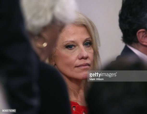 White House Counselor Kellyanne Conway attends a media briefing on President Donald Trump's upcoming trip to the World Economic Forum later this week...