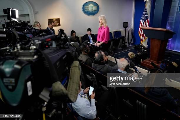 White House counselor Kellyanne Conway gives a television interview and answers questions from the press regarding current tensions between the U.S....