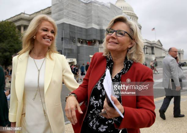 White House counselor Kellyanne Conway greets House Republican Conference chair Liz Cheney prior to an event at the US Capitol May 9 2019 in...