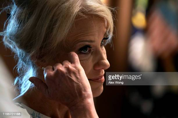 "White House Counselor Kellyanne Conway listens during a working lunch with governors on ""workforce freedom and mobility"" at the Cabinet Room of the..."