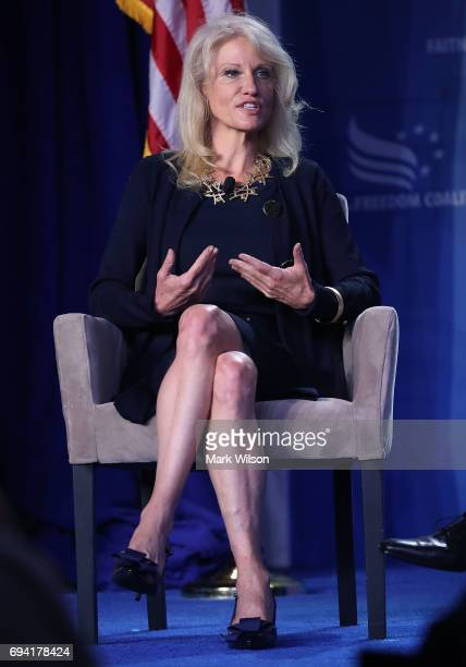 White House Counselor Kellyanne Conway speaks during the Faith and Freedom Coalition 2017 annual conference at the Omni Shoreham hotel on June 9 2017...