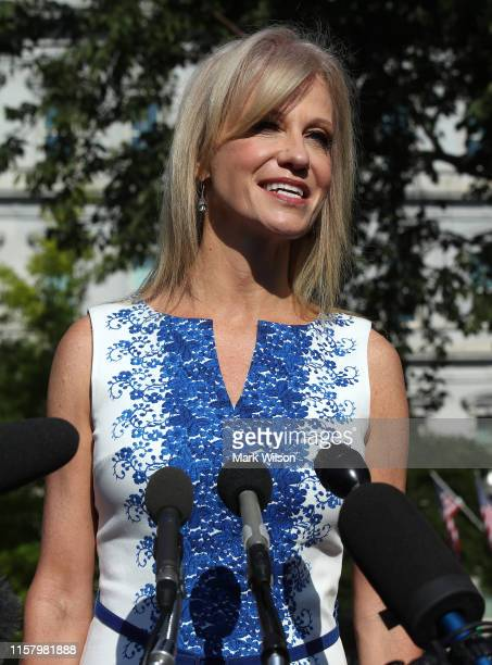 White House Counselor Kellyanne Conway speaks to the media after appearing on a morning talk show on the North Lawn of the White House, on June 24,...