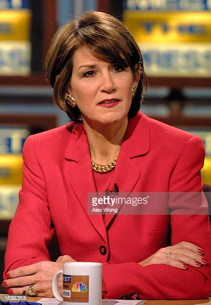 White House Counselor Mary Matalin discusses her new job for the Bush administration on NBC's 'Meet the Press' during a taping at the NBC studio...
