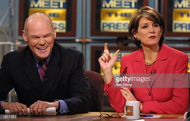 White House Counselor Mary Matalin right discusses her new job for the Bush administration as her husband James Carville reacts on NBC''s ''Meet the...