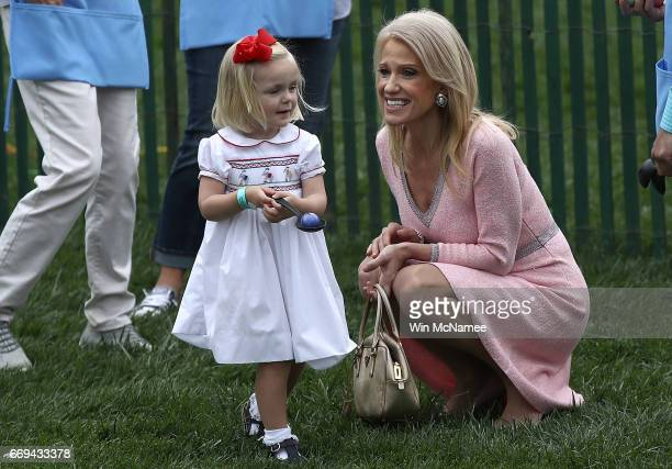 White House Counselor to the President Kellyanne Conway greets guests during the 139th Easter Egg Roll on the South Lawn of the White House April 17...