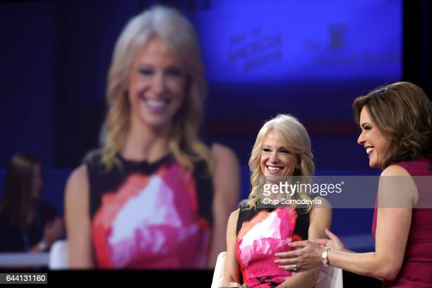 White House Counselor to the President Kellyanne Conway is interviewed by Mercedes Schlapp during the first day of the Conservative Political Action...