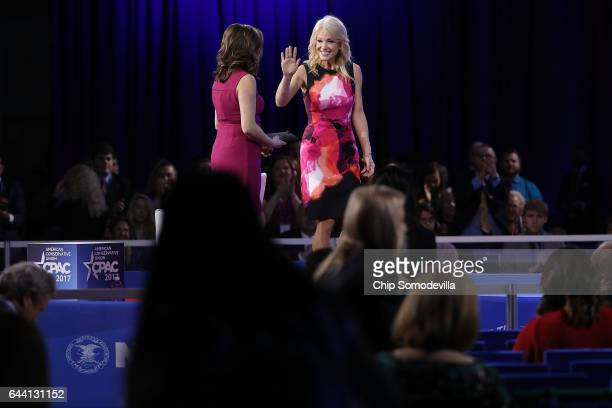 White House Counselor to the President Kellyanne Conway leaves the stage with Mercedes Schlapp during the first day of the Conservative Political...