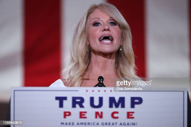 White House Counselor to the President Kellyanne Conway pre-records her address to the Republican National Convention from inside an empty Mellon...